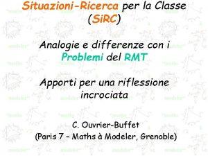 SituazioniRicerca per la Classe Si RC Analogie e
