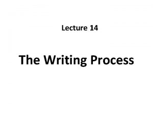 Lecture 14 The Writing Process Recap Writing Styles