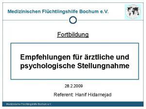 Medizinischen Flchtlingshilfe Bochum e V Fortbildung Empfehlungen fr