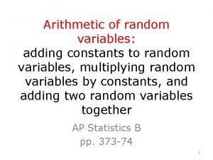 Arithmetic of random variables adding constants to random