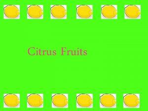 Citrus Fruits Which fruits are CITRUS FRUITS Oranges