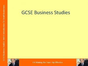GCSE Business Studies Unit 1 Introduction To Small