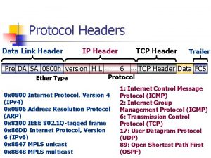 Protocol Headers Data Link Header IP Header Pre
