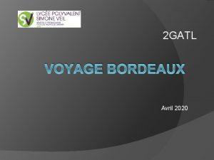 2 GATL VOYAGE BORDEAUX Avril 2020 Objectifs Axe