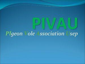 PIVAU PIgeon Vole Association Usep Bonjour Nous sommes