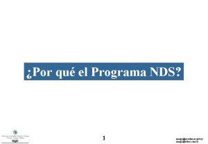 Por qu el Programa NDS 1 rmagripresidencia gub