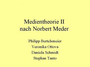 Medientheorie II nach Norbert Meder Philipp Bertelsmeier Veronika
