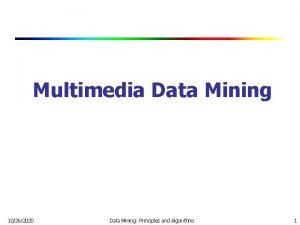 Multimedia Data Mining 10262020 Data Mining Principles and