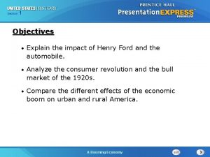 125 Section Chapter Section 1 Objectives Explain the