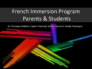 French Immersion Program Parents Students By Vronique Mathieu
