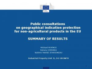 Public consultations on geographical indication protection for nonagricultural