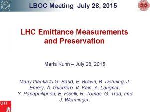 LBOC Meeting July 28 2015 LHC Emittance Measurements