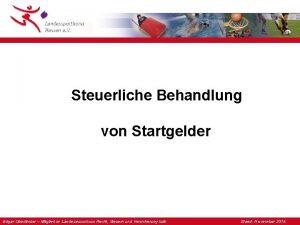 Steuerliche Behandlung von Startgelder Edgar Oberlnder Mitglied im