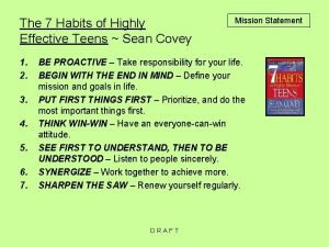 The 7 Habits of Highly Effective Teens Sean