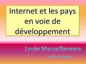 Internet et les pays en voie de dveloppement
