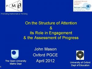 Promoting Mathematical Thinking On the Structure of Attention