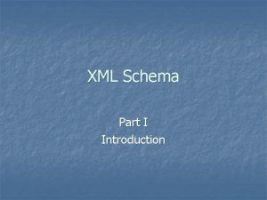 XML Schema Part I Introduction XML Schema n