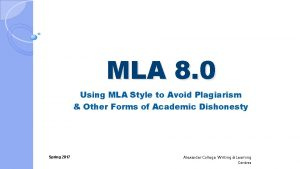 MLA 8 0 Using MLA Style to Avoid