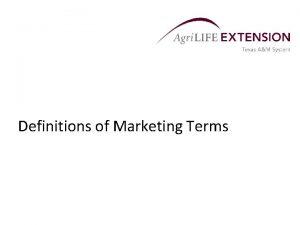 Definitions of Marketing Terms Cash Market Definitions Cash