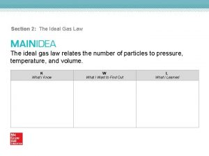 Section 2 The Ideal Gas Law The ideal