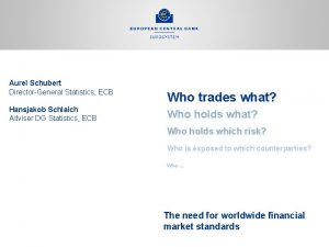 Aurel Schubert DirectorGeneral Statistics ECB Hansjakob Schlaich Adviser