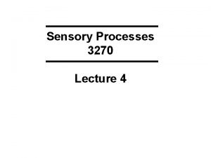 Sensory Processes 3270 Lecture 4 KEYWORDS from Lecture
