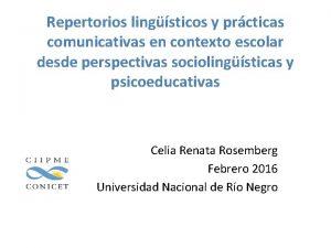 Repertorios lingsticos y prcticas comunicativas en contexto escolar