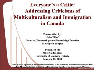 Everyones a Critic Addressing Criticisms of Multiculturalism and