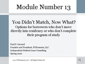 Module Number 13 You Didnt Match Now What