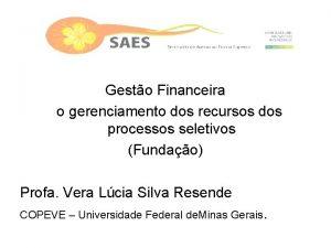 Gesto Financeira o gerenciamento dos recursos dos processos