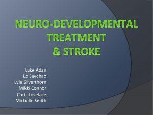 NEURODEVELOPMENTAL TREATMENT STROKE Luke Adan Lo Saechao Lyle