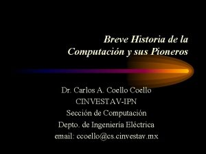 Breve Historia de la Computacin y sus Pioneros