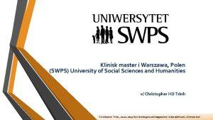 Klinisk master i Warszawa Polen SWPS University of