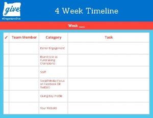 4 Week Timeline Week Team Member Category Donor