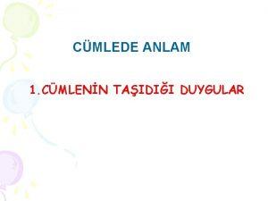 CMLEDE ANLAM 1 CMLENN TAIDII DUYGULAR a Hayflanma