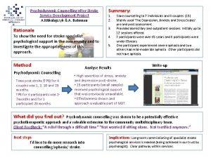 Psychodynamic Counselling after Stroke Service Development Project A