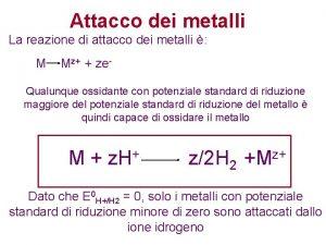 Attacco dei metalli La reazione di attacco dei