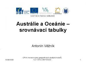 Austrlie a Ocenie srovnvac tabulky Antonn Vnk 10262020
