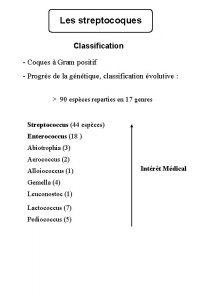 Les streptocoques Classification Coques Gram positif Progrs de