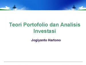 Teori Portofolio dan Analisis Investasi Jogiyanto Hartono 1