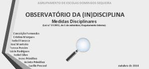AGRUPAMENTO DE ESCOLAS DOMINGOS SEQUEIRA OBSERVATRIO DA INDISCIPLINA