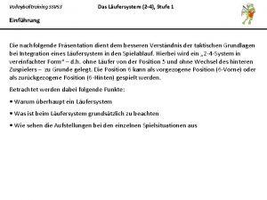 Volleyballtraining SSV 53 Das Lufersystem 2 4 Stufe