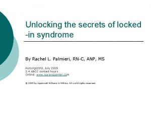 Unlocking the secrets of locked in syndrome By
