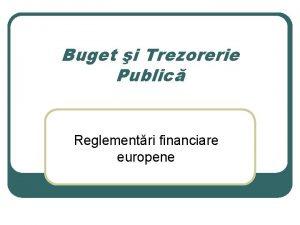 Buget i Trezorerie Public Reglementri financiare europene Principiile