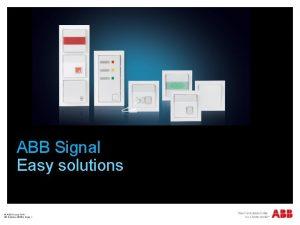 ABB Signal Easy solutions ABB Group WA 26