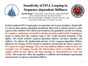 Sensitivity of DNA Looping to Sequencedependent Stiffness Sachin