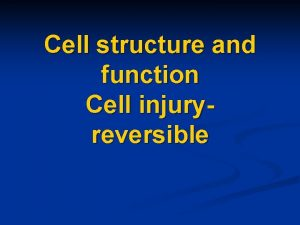 Cell structure and function Cell injuryreversible n Cell