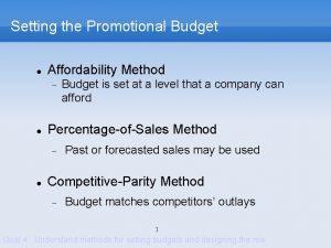 Setting the Promotional Budget Affordability Method PercentageofSales Method