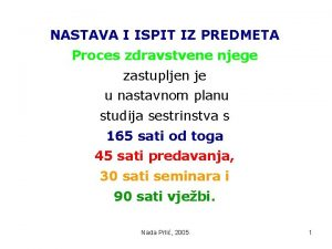NASTAVA I ISPIT IZ PREDMETA Proces zdravstvene njege