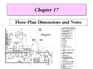 Chapter 17 FloorPlan Dimensions and Notes Introduction Dimensions